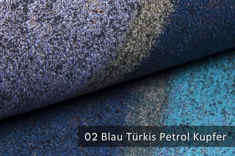 novely® exquisit RIMINI – prunkvoller und eleganter Möbelstoff  | 02 Blau Türkis Petrol Kupfer
