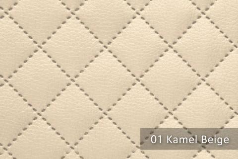 novely® SOLTAU Kunstleder 3-LAGIG gesteppt kaschiert | Volumen Polsterstoff | KARO Möbelstoff Premium | 01 Kamel Beige