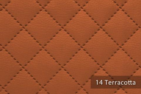 novely® SOLTAU Kunstleder 3-LAGIG gesteppt kaschiert | Volumen Polsterstoff | KARO Möbelstoff Premium | 14 Terracotta