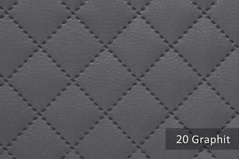 novely® SOLTAU Kunstleder 3-LAGIG gesteppt kaschiert | Volumen Polsterstoff | KARO Möbelstoff Premium | 20 Graphit