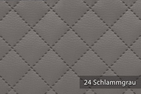novely® SOLTAU Kunstleder 3-LAGIG gesteppt kaschiert | Volumen Polsterstoff | KARO Möbelstoff Premium | 24 Schlammgrau