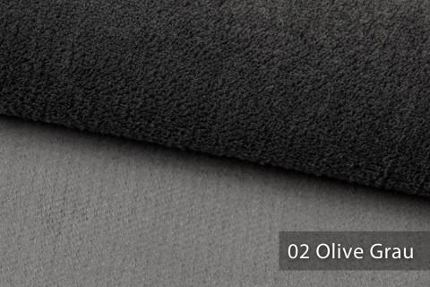 novely® exquisit SORRENTO Teddystoff Plüsch Ultraweich | Polsterstoff schwer entflammbar | 02 Olive Grau