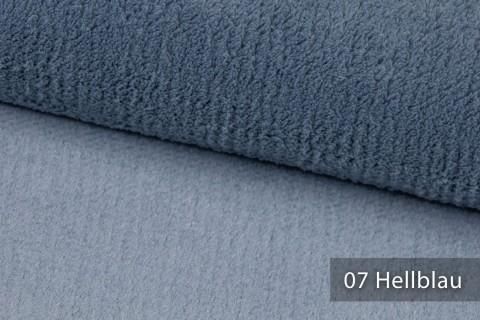novely® exquisit SORRENTO Teddystoff Plüsch Ultraweich | Polsterstoff schwer entflammbar | 07 Hellblau