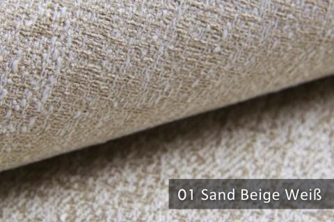 novely® exquisit SPEZZANO – grob strukturierter Möbelstoff | 01 Sand Beige Weiß
