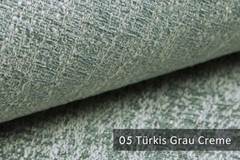 novely® exquisit SPEZZANO – grob strukturierter Möbelstoff | 05 Türkis Grau Creme