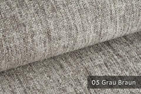 novely® TESSANO samtweicher Chenille Polsterstoff 3D-Optik | schwer entflammbar | 05 Grau Braun