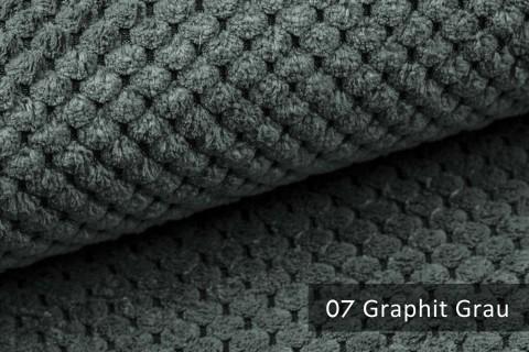 novely® ZEVEN - plüschiger Möbelstoff, ultraweich, Cord-Haptik, Kachelmuster | 07 Graphit Grau