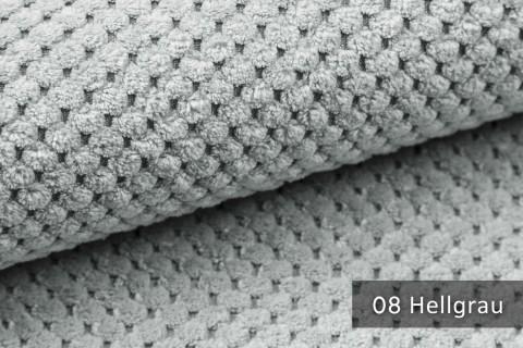 novely® ZEVEN - plüschiger Möbelstoff, ultraweich, Cord-Haptik, Kachelmuster | 08 Hellgrau