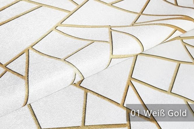 PLATIN LYNN - Glänzender Dekostoff - 01 Weiß Gold