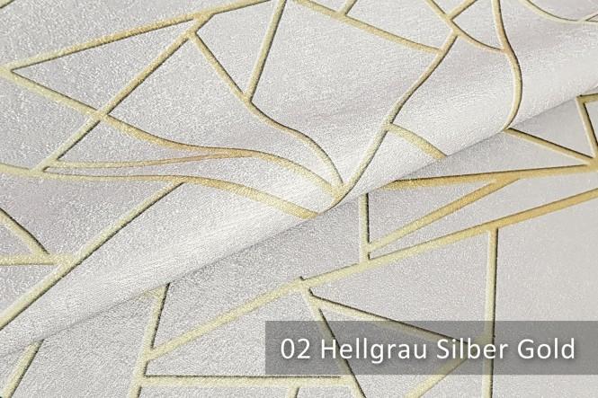 PLATIN LYNN - Glänzender Dekostoff - 02 Hellgrau Silber Gold
