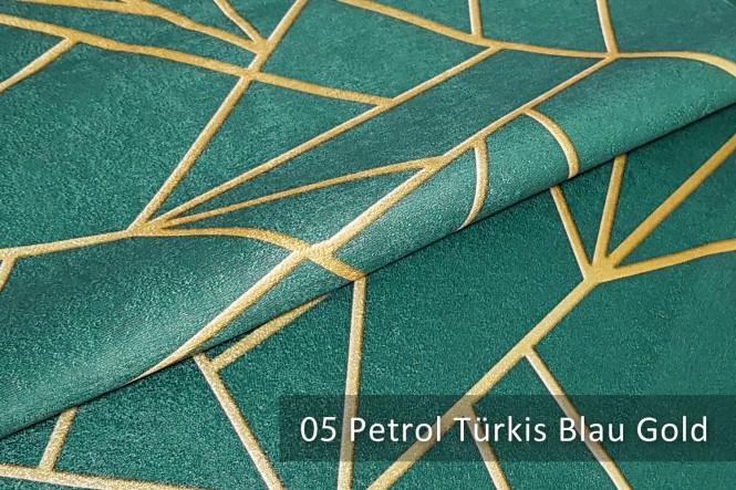 PLATIN LYNN - Glänzender Dekostoff - 05 Petrol Türkis Blau Gold