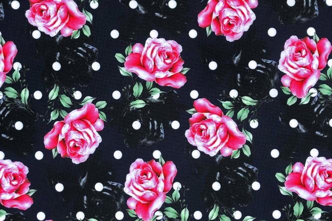 OXFORD 210D - D169 Polka Dots And Roses