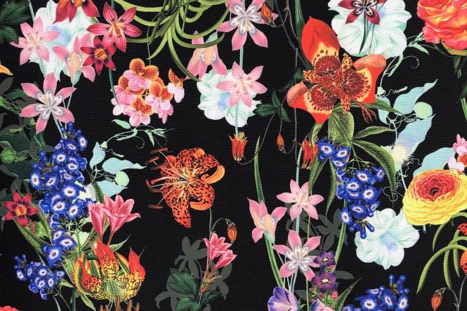OXFORD 210D - D170 Bunte Blumen Auf Schwarz