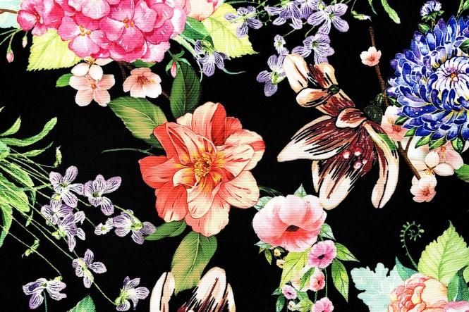 OXFORD 210D - D177 Bunte Blumen Hortensien