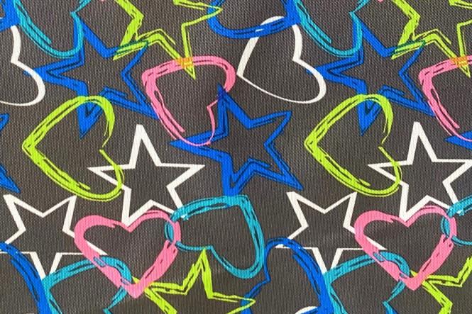 OXFORD 210D - D154 Herzen Sterne Graphit