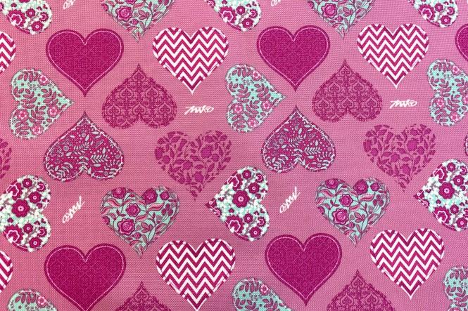 OXFORD 210D - D162 Herzen Rosa Pink