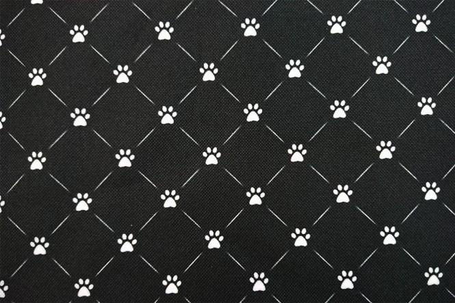 OXFORD 210D - D19 Raute Pfoten Schwarz Weiß