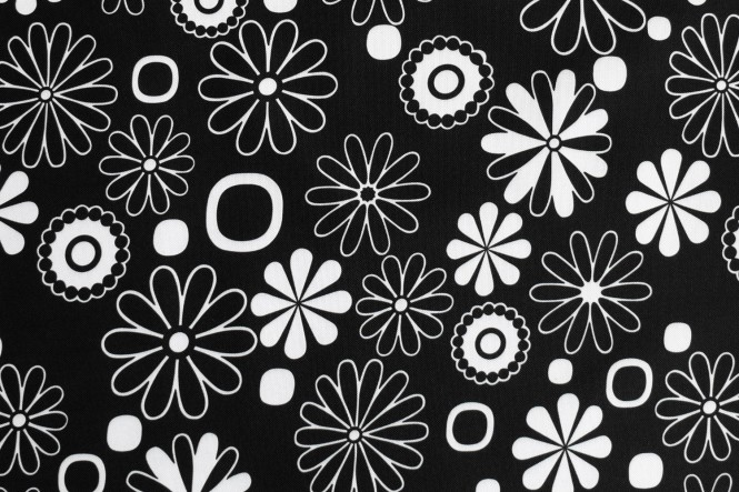 OXFORD 210D - D5 Blumen Schwarz Weiss