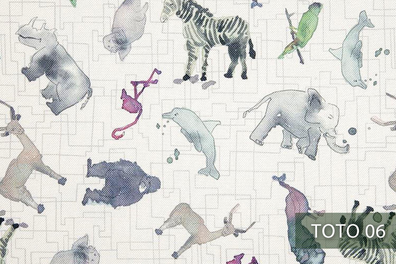 novely® HANAU Polsterstoff gemustert   Kinderzimmer Print TOTO 06 ...